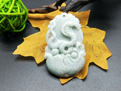 Chinese hand carved delicate natural Burmese jade zodiac snake pendant 12-6