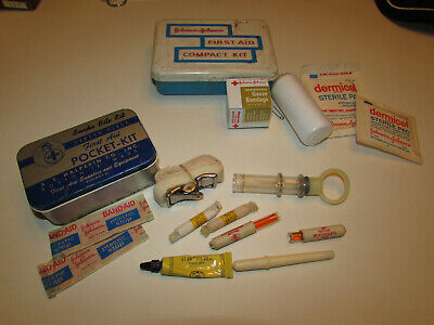 Vintage Halco A.E Halperin Snake Bite Kit tin & Johnson's First Aid box LOT
