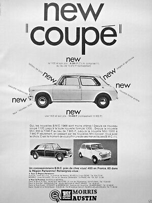 Publicité De Presse 1968 Austin New Coupé 1100 Mini 1000 B.m.c 400 En France