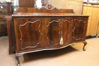 A Large Georgian Style Bow Front Mahogany Sideboard Buffet on Ball & Claw