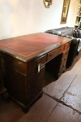 A Vintage Twin Pedestal Partners Desk with Leather Inset to Top