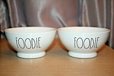 """RAE DUNN Artisan Collection by Magenta """"FOODIE"""" Cereal Bowls Ceramic SET of 2 X2"""