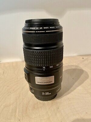 Canon EF 75-300mm IS USM F4-5.6 Image Stabilizer Zoom Lens With Front & Rear Cap