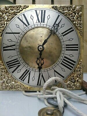 Early1700 Longcase bird cage  Clock Movement , Brass Dial & Bell,30hr