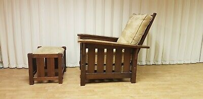 Bow Morris recliner chair mission arts crafts slat wood