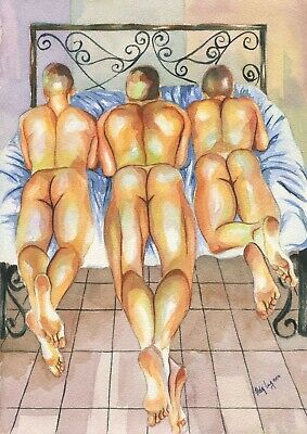 """PRINT of Original Art Work Watercolor Painting Gay Male Nude /""""In your bed/"""""""