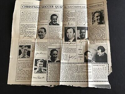 Rare Football Quiz Page From 1951 Eagle Magazine  Arsenal Players Autographs