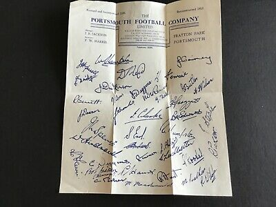Rare Portsmouth Players Autographs Pre Printed Club Sheet 1951