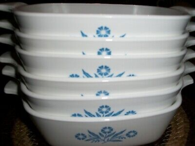 Set of 6 CORNING WARE P-41 Petite Pan Bakers Casserole Blue Cornflower 1-3/4 Cup