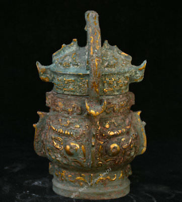 "9"" Ancient Chinese Dynasty Old Antique Bronze Vessel Food Portable Pot Jar Crock"