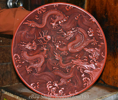 """15"""" Rare Chinese Palace Red lacquerware Carved Two Dragon play Bead Flower Plate"""