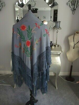 antique hand embroidered silk shawl woven fringe 1920s