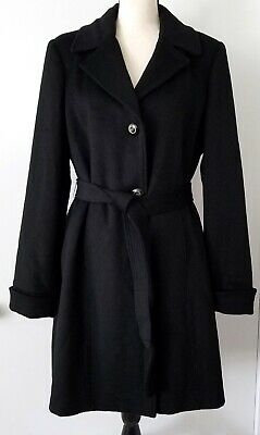 Women's Dennis Basso 100% Wool Coat Black Large Classic High End Details Euc
