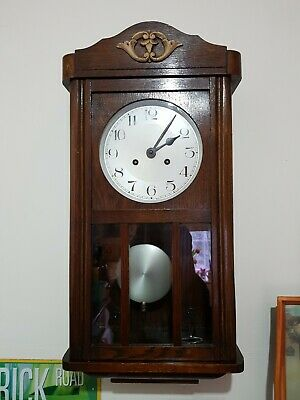 Fully working, Vintage  Pendulum Mechanical Chiming Wall Clock Made in Germany??