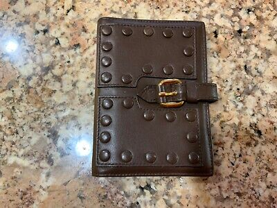 100% Authentic Roberto Cavall Brown Refillable Leather Notepad Case, Italy