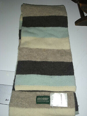 Hobb wool scarf 100% lambswool Blue brown fawn & cream