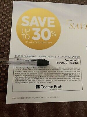 Cosmo Prof Mystery Savings Coupon Save up to 30% Off Expires 2/29/2020