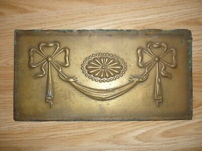 Antique Victorian pressed brass decorative fire place panel 12 inches wide