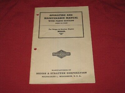 1956 Briggs & Stratton Operating & Maintenance Manual/Parts List Model 5B