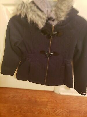 Limited Too girls Winter Coat size 10 /12 blk with wool interior & fur hoodie