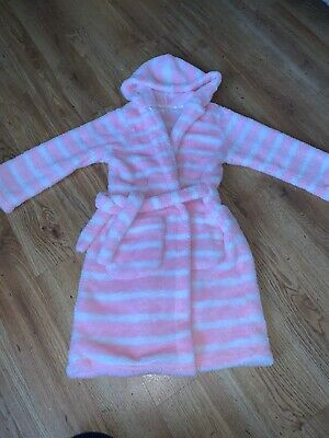 Marks And Spencer Girls Pink Stripe Dressing Gown Age 6 - 7 Years