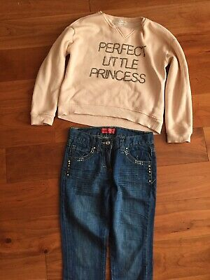 Girls Outfit Age 9/10 Zara Sweatshirt & R&B Jeans Hardly Worn