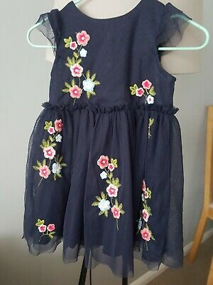 Lovely Baby Girls Party Occassion Navy Blue Embroidered Dress 9-12 Months vgc