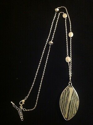 65% Off  New Long Semi Precious Zebra Stone Pendant Necklace   Msrp $26.95
