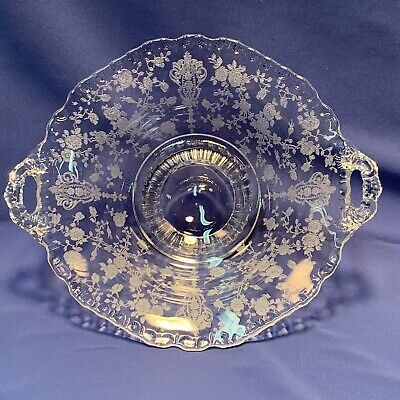 Elegant Cambridge Glass Crystal Rose Point Etch Low Footed Bowl with Handles