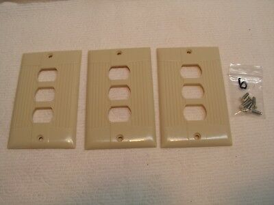 3 Vintage Eagle Ivory Despard 3 Switch Wall Cover Plate Ribbed/Art Deco W/Screws
