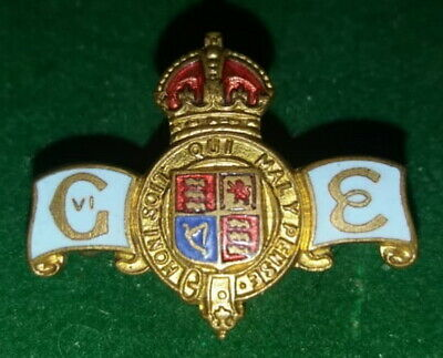 Rare 1936 King George VI and Queen Elizabeth Coronation Enamel Pin Badge Brooch
