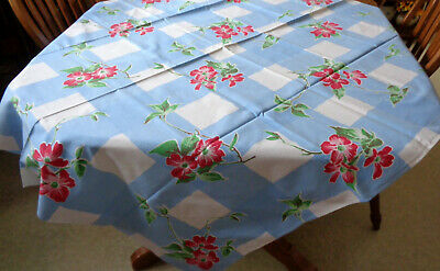 "Vintage 48"" x 54"" Tablecloth RED DOGWOOD Blue Wavy Grid WILENDUR Print Cotton"