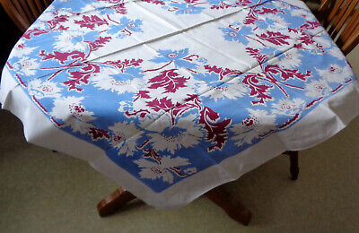 """Vintage 49"""" x 49"""" Tablecloth Blue Magenta POPPIES on White Cotton Table Cover"""