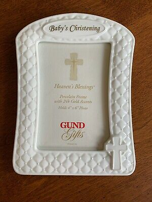 Gund Baby's Christening Porcelain Frame with 24k Gold Accents - NEW