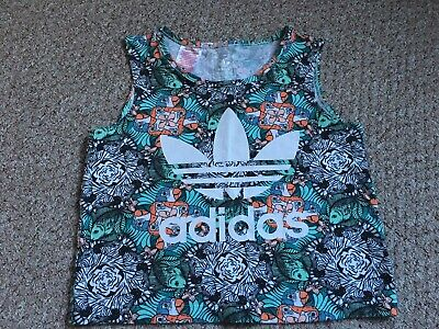 Girls Adidas Jungle Print Sports Vest Cropped Top Gym 11-12 Years Worn Once