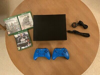 Microsoft Xbox One X 1TB Console Bundle & Two Blue Controllers