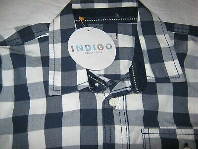 M&S Indigo Smart Casual Blue & White Checked Boys Shirt Age 11 New With Tags