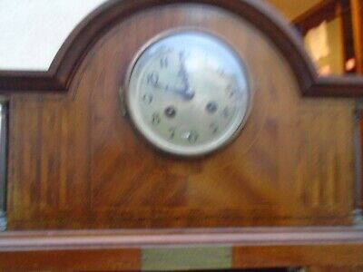 Antique Earl 19 ct  Inlaid Mahogany Mantle Clock L.N.E.R. Police connection