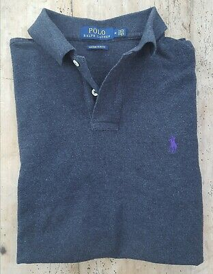 Ralph Lauren Polo Shirt Custom Fit designer mens size medium charcoal