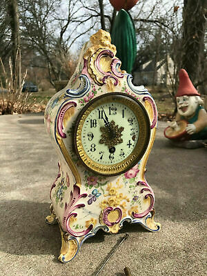 Antique Time Only Porcelain Mantle Clock Ansonia? Round Movement Runs FB13