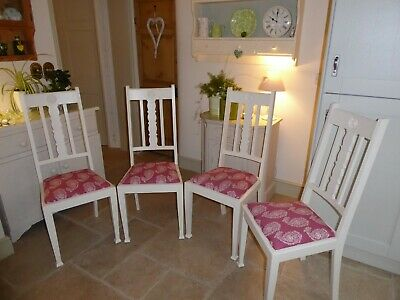 Set of 4 Vintage Arts & Crafts painted oak dining chairs in excellent condition