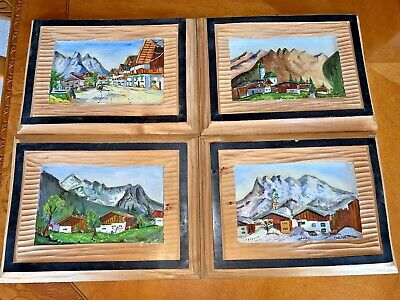 Vtg Paul Mchn 1953 Hand Carved 3D Solid Wood Art Village Bavarian Munich Germany