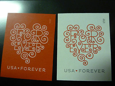 #4955-56 NEW/MNH~IMPERFORATE 2 SINGLES~2015 Forever Heart No Die Cuts