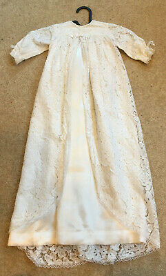 Vintage Handmade White Satin And Lace Christening Gown From 1970 0-3mths