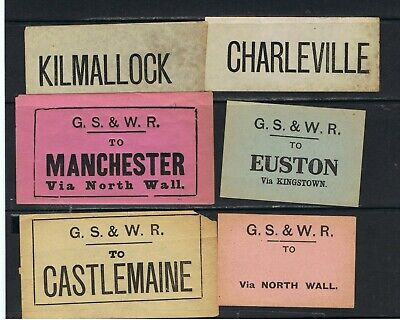 Great Southern & Western Rly,Ireland,6 No. Luggage Labels Castlemaine,London Etc