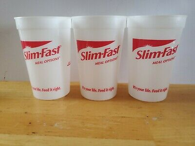 (3) Vintage Slim Fast Meal Options Cups It's Your Life Feed it Right Weightloss