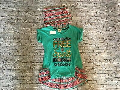 Girls Size 10-12 One Step Up Shirt Blouse With Scarf New