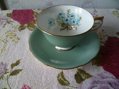 Aynsley English China Tea Cup & Saucer Blue Flowers Gilded Bow