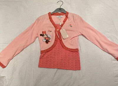 Girls Minnie Mouse Top & Cardigan - Disney Store Cotton Age 5-6 Brand New Pink