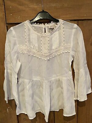 River Island Girls Long Sleeved White Blouse Age 10 Years